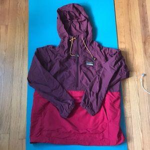 LL Bean Red and Maroon Anorak Hoodie Jacket